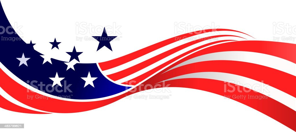 USA flag waving vector art illustration