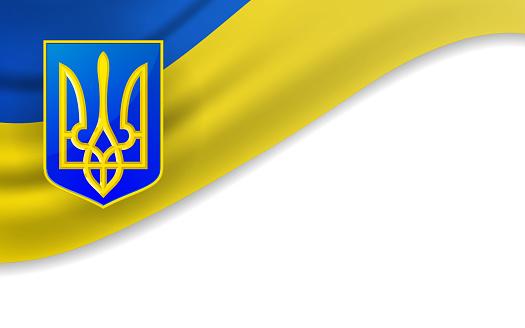 Flag waving with national symbol of Ukraine on white background