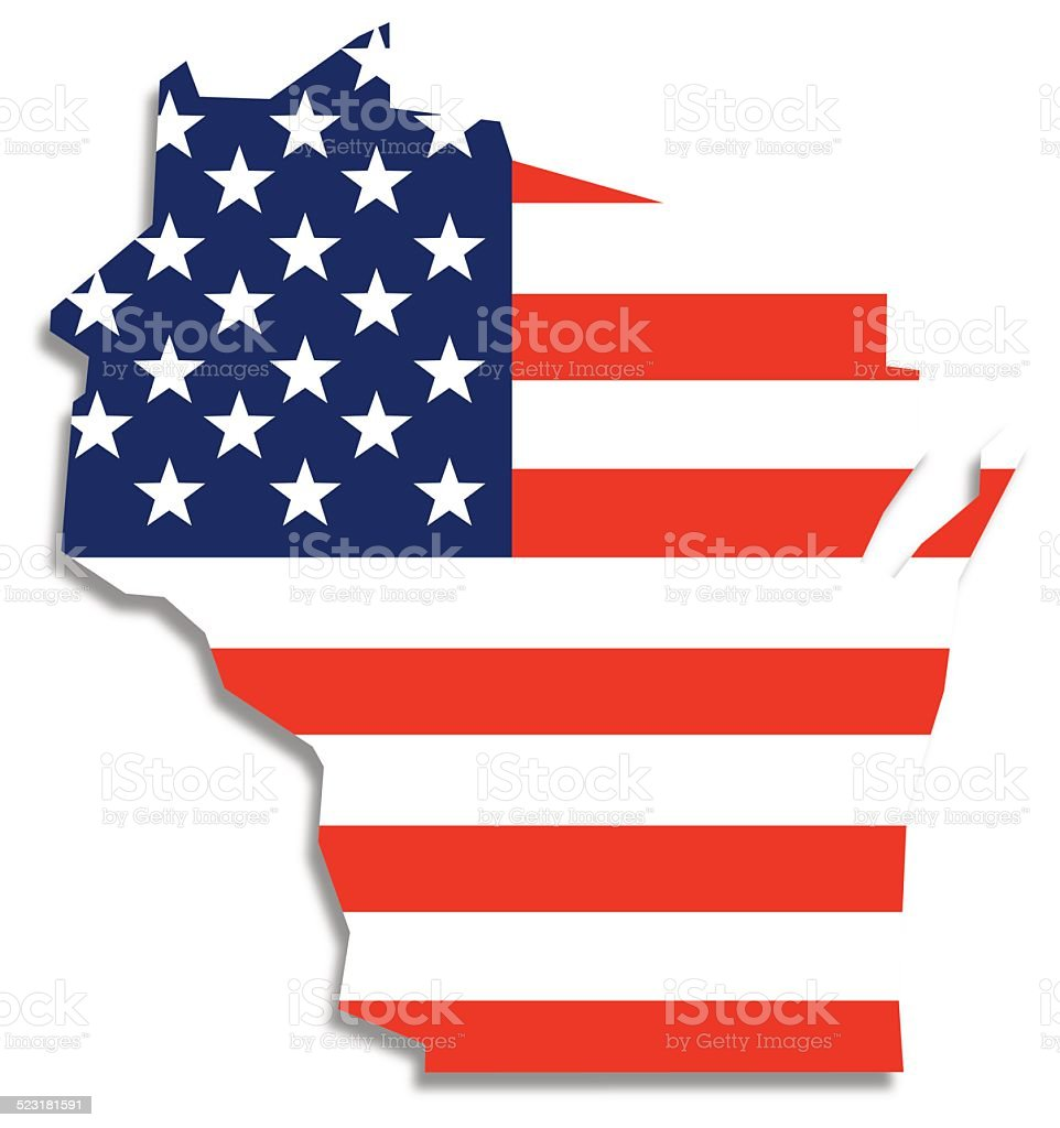 Usa Flag Wisconsin Map Stock Vector Art IStock - Wisconsin on map of usa