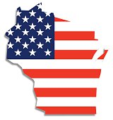 USA Flag Wisconsin Map