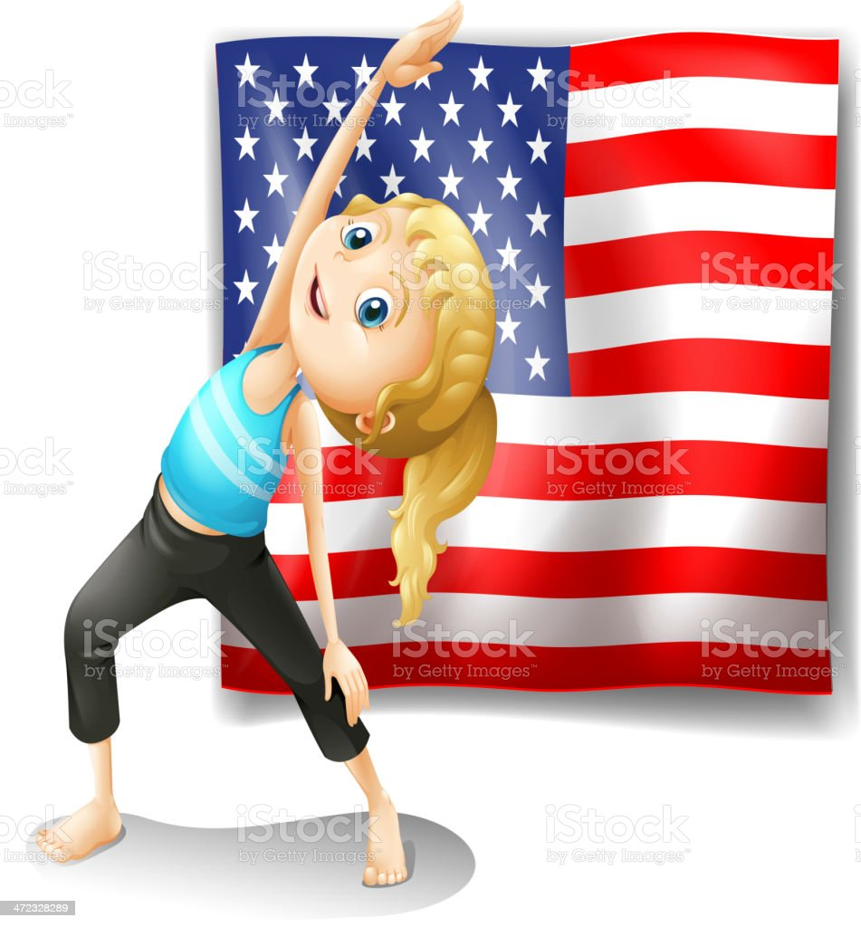 USA flag with a girl exercising royalty-free stock vector art