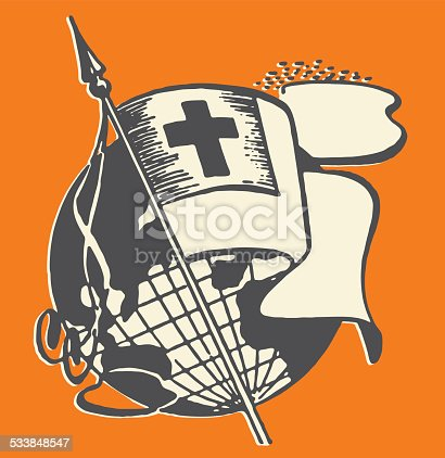 istock Flag with Cross over World 533848547