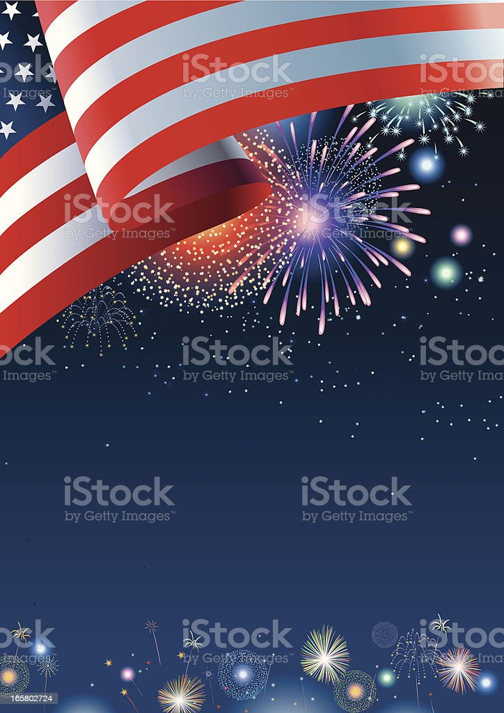 USA flag with fireworks and dark blue night sky royalty-free stock vector art