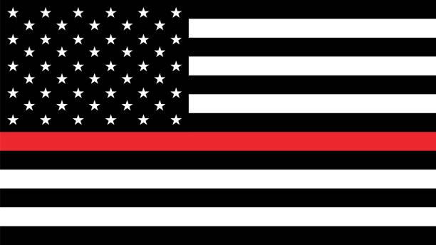 flaga usa z cienką czerwoną linią - chudy stock illustrations