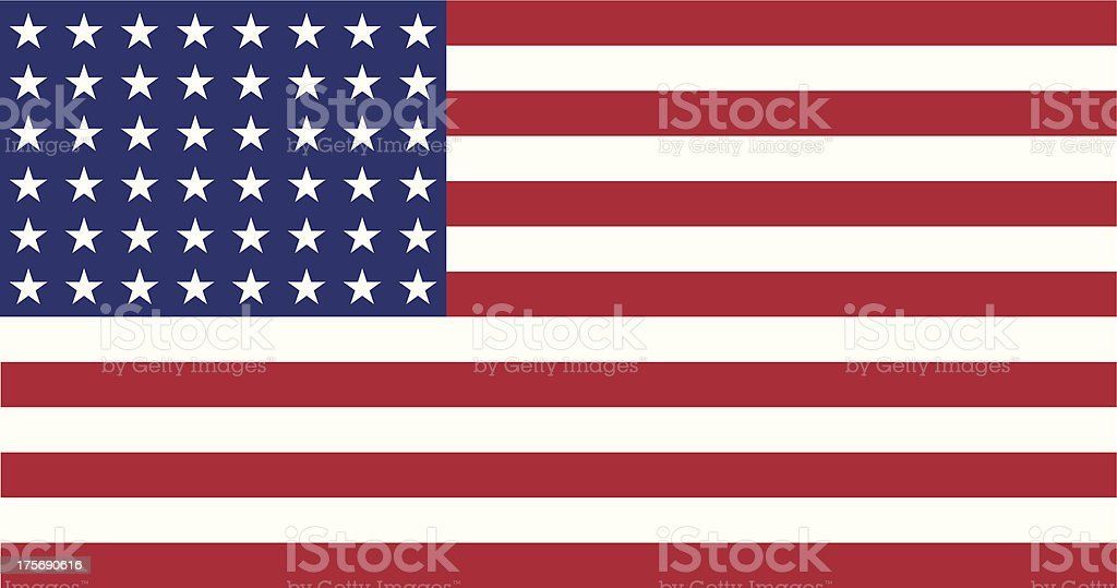 US Flag WWI-WWII (48 stars) Flat royalty-free stock vector art