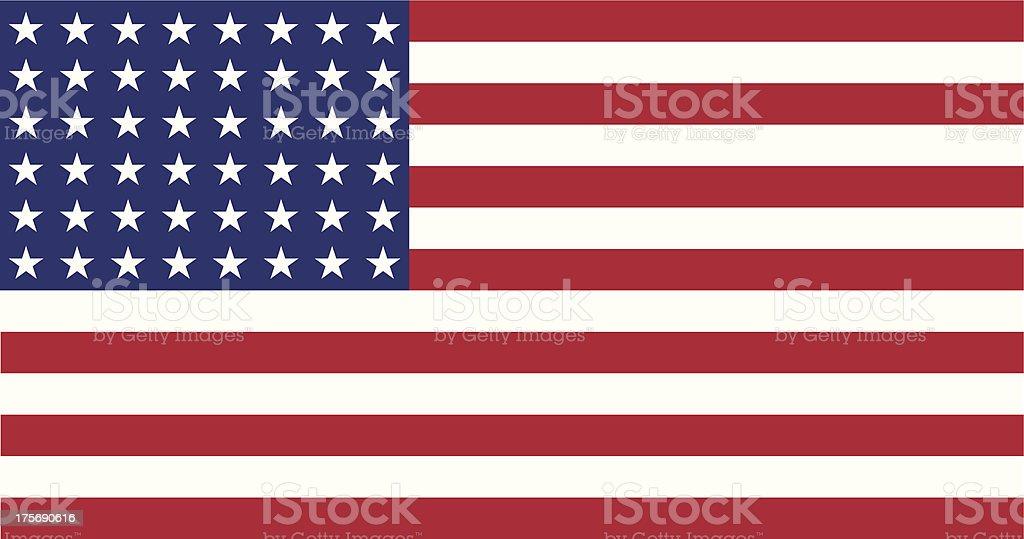 US Flag WWI-WWII (48 stars) Flat vector art illustration