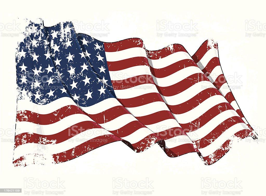 US Flag WWI-WWII (48 stars) Grunge vector art illustration