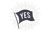 istock Flag Yes. Old school flag banner 976021908