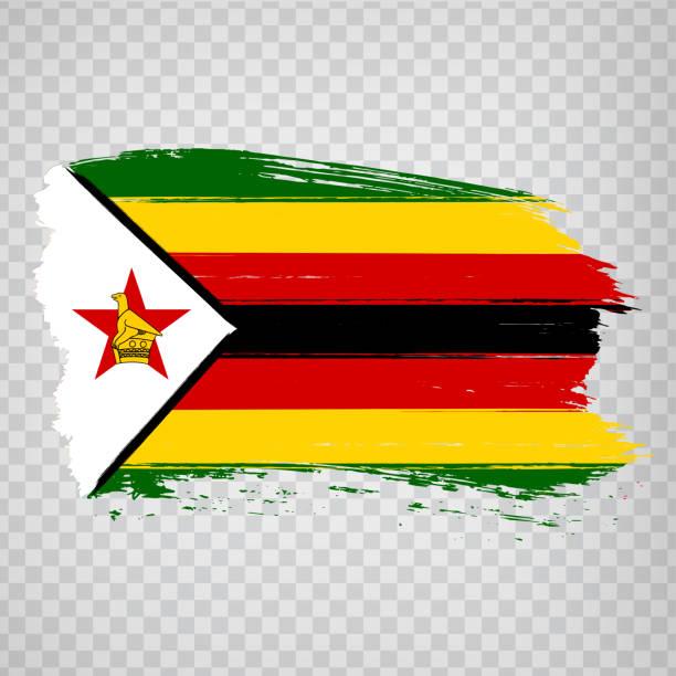 flagge simbabwe von pinselstrichen. flagge republik simbabwe auf transparentem hintergrund für ihre website-design, logo, app, ui. aktienvektor.  eps10. - salisbury stock-grafiken, -clipart, -cartoons und -symbole