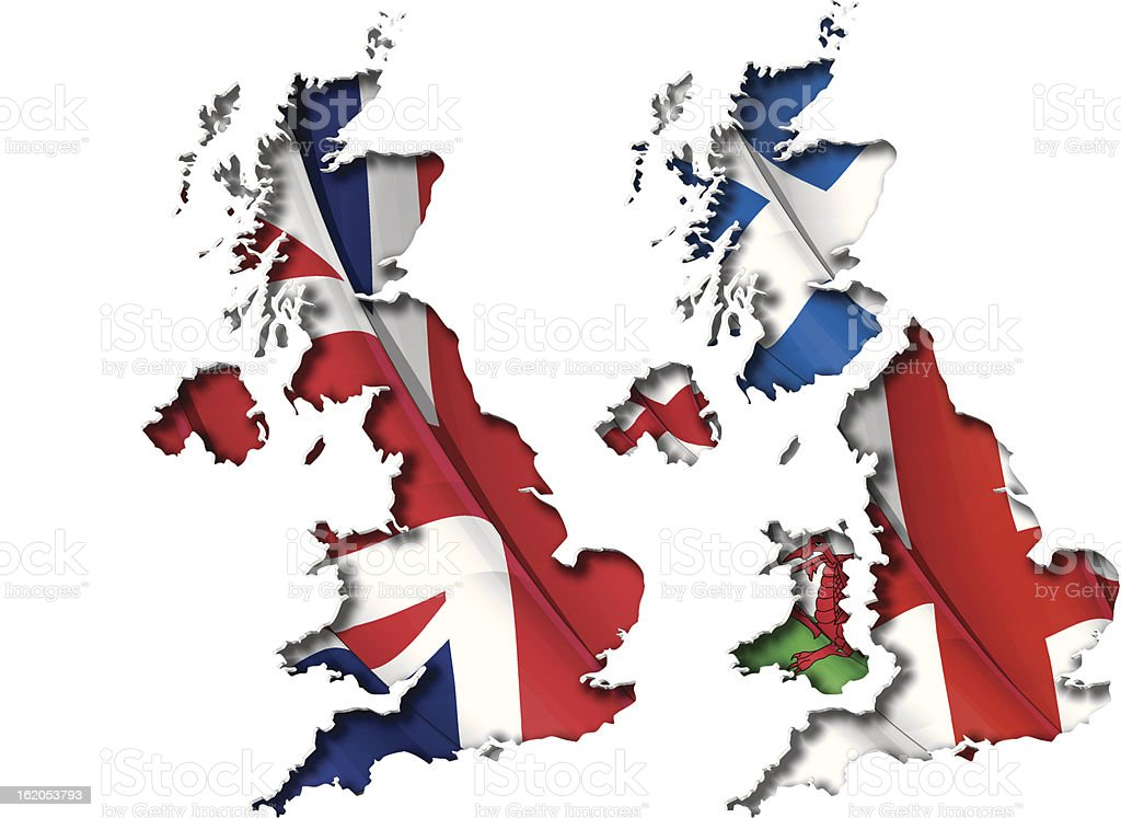 UK Flag-Map Inner Shadow vector art illustration