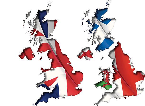 von der britischen flagge karte inneren shadow - flagge irland stock-grafiken, -clipart, -cartoons und -symbole
