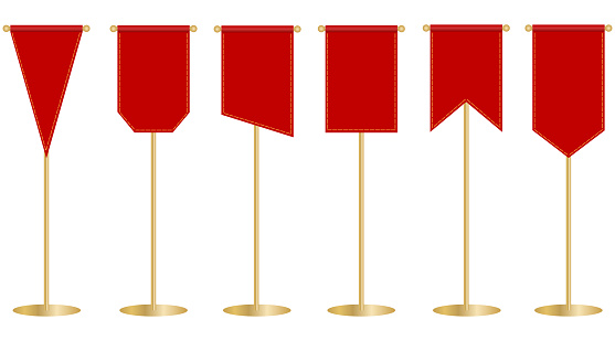 Flagpole, red flag on the flagpole. Red banner. Vector, cartoon illustration. Vector.