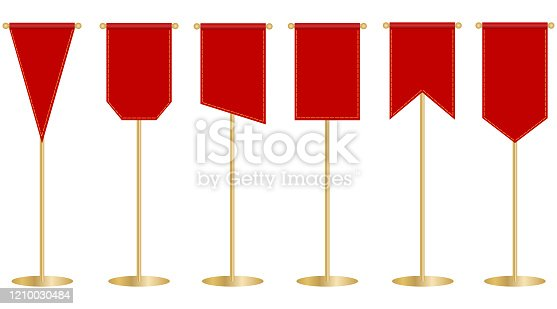 istock Flagpole, red flag on the flagpole. Red banner. Vector, cartoon illustration. Vector. 1210030484