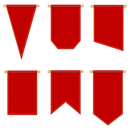 Flagpole, set of red flags of different shapes isolated on a white background. Vector, cartoon illustration. Vector.