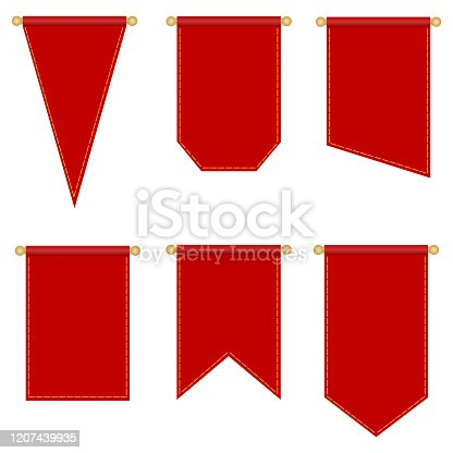 istock Flagpole, set of red flags of different shapes isolated on a white background. Vector, cartoon illustration. Vector. 1207439935