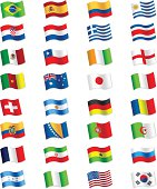 Vector flags isolated on white