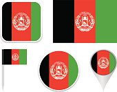 Flags Afghanistan - icon set