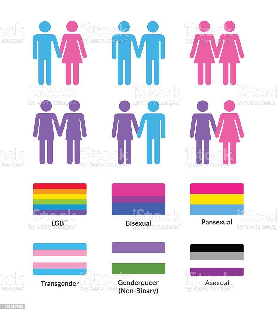 Conjunto de banderas de LGBT y símbolos - ilustración de arte vectorial