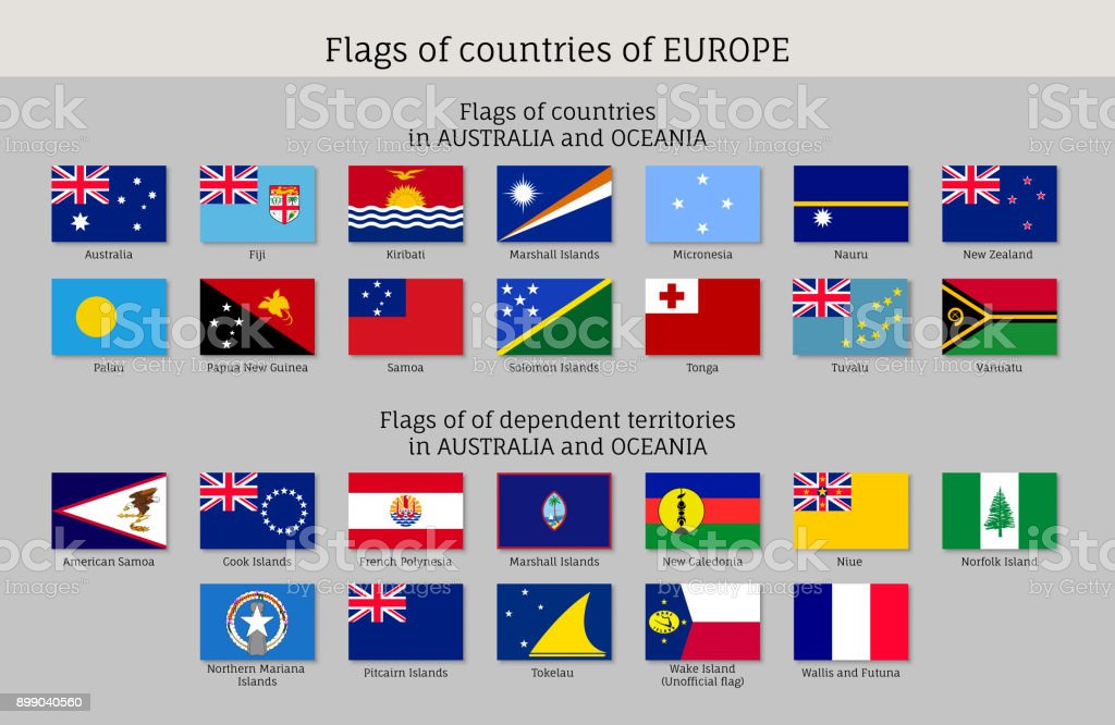 Flags Australia and Oceania flat style big set vector art illustration