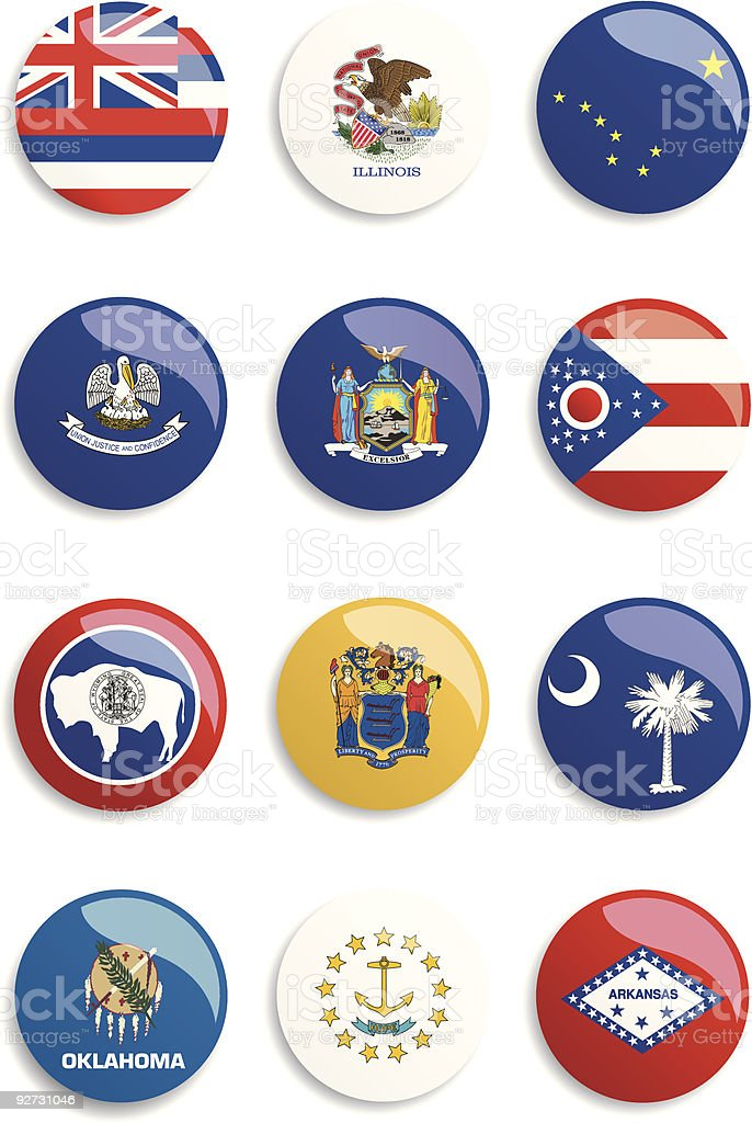 USA Flags Buttons royalty-free stock vector art