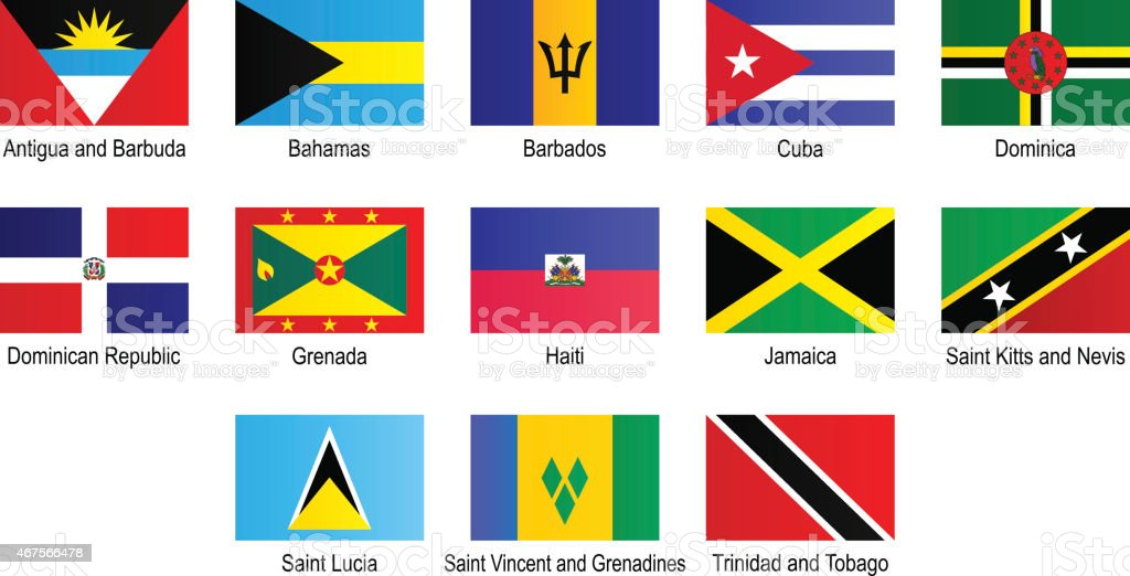 Flags - Caribbean countries (West-Indies) vector art illustration