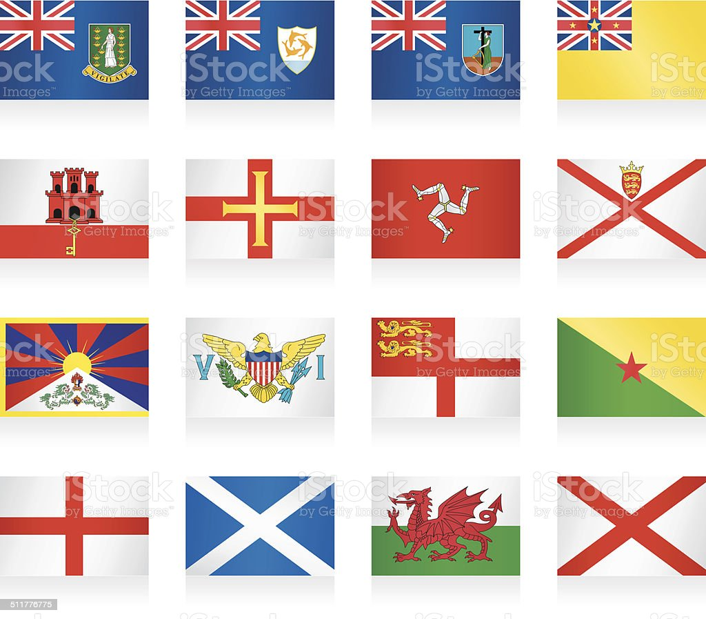Flags collection - small countries and territories vector art illustration
