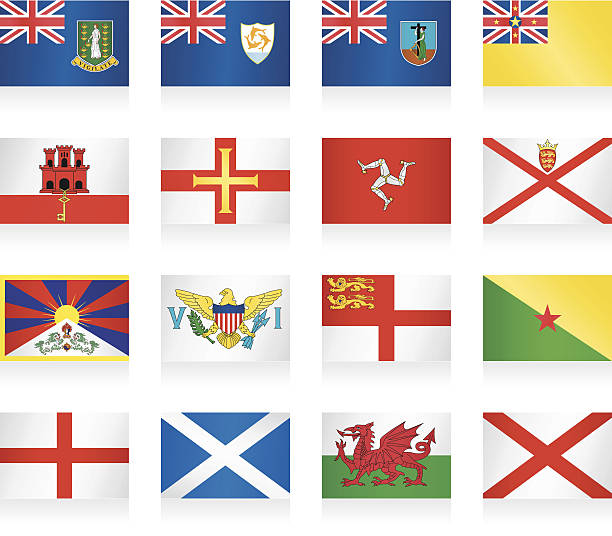 flags collection - small countries and territories - wales stock illustrations, clip art, cartoons, & icons