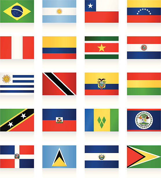 flags collection - south and central america - ecuador flag stock illustrations