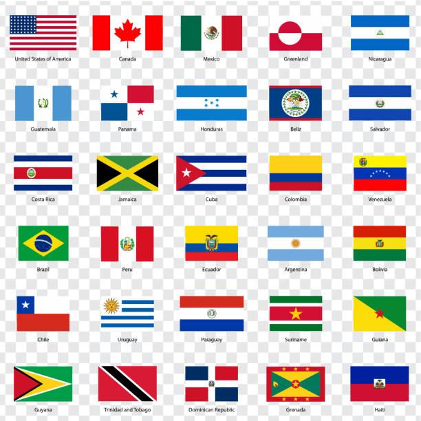 Flaggen Länder Nord- und Südamerika.  Dreißig Flaggen amerikanische Länder mit Inschriften und ursprünglichen Proportionen auf transparenten Hintergrund. Flaggen für Ihre Website-Design, Logo, app, UI. Vektor-Illustration EPS10. – Vektorgrafik