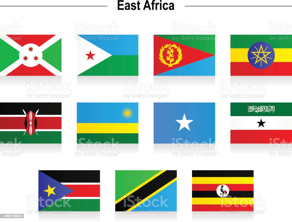Flags - East Africa vector art illustration