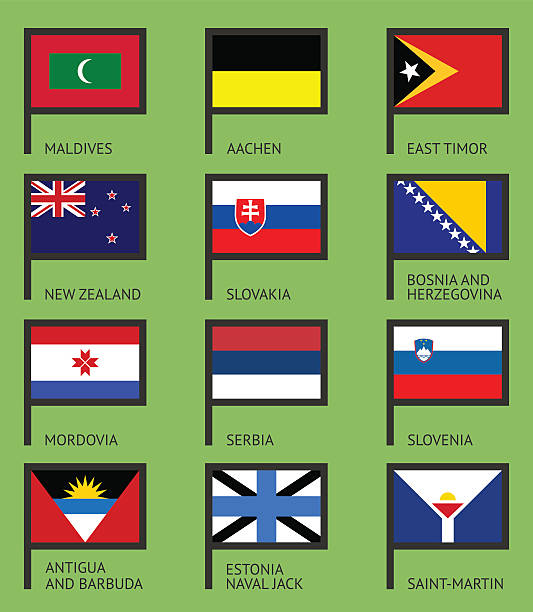 Flags flat set-12 Flags of the world, flat vector illustration. Set number 12 lachen stock illustrations