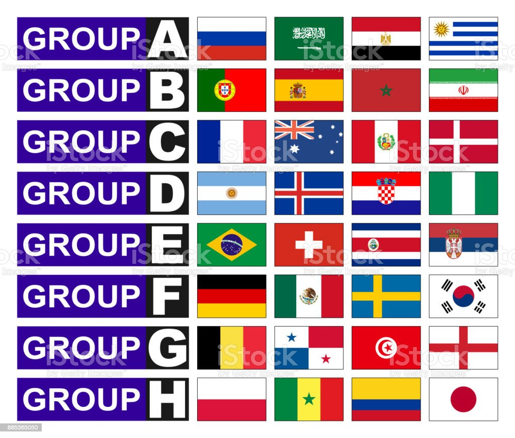 Flags football groups vector art illustration