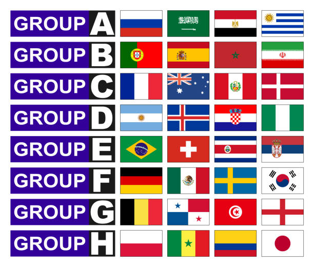 Flaggen-Fußball-Gruppen – Vektorgrafik