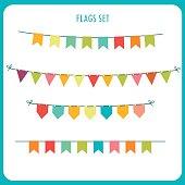 Flags garlands colors vector set