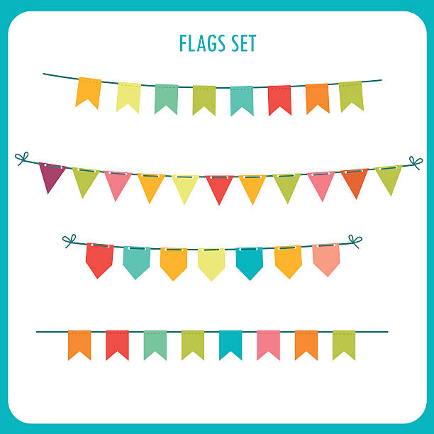 Flags Garlands Colors Vector Set. Vector On White Background. Flags garlands colors vector set agricultural fair stock illustrations