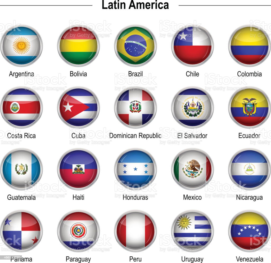Flags - Latin America vector art illustration