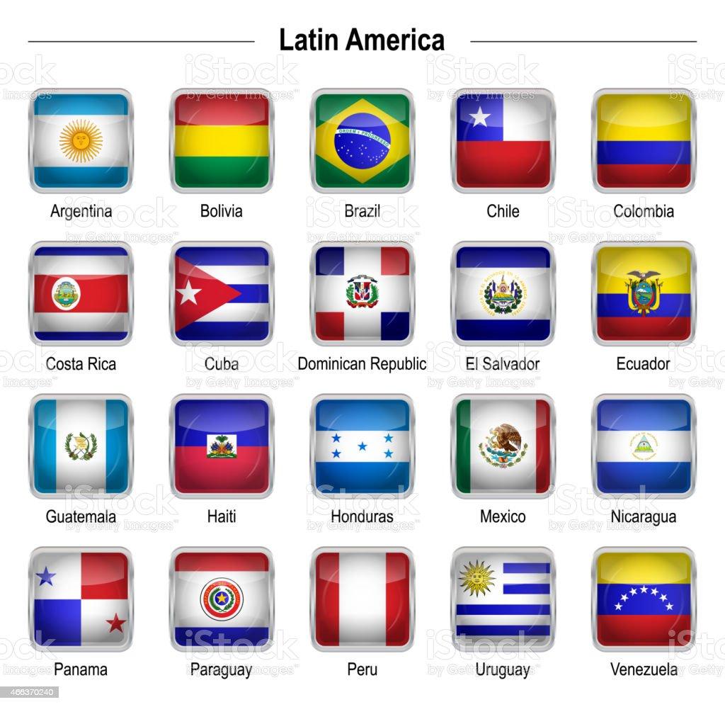 Banderas-América Latina - ilustración de arte vectorial