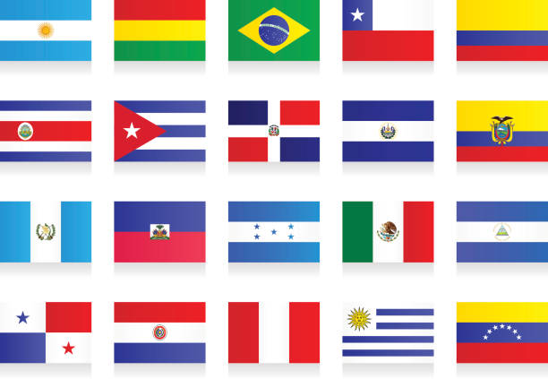 flags - latin america - chile flag stock illustrations, clip art, cartoons, & icons