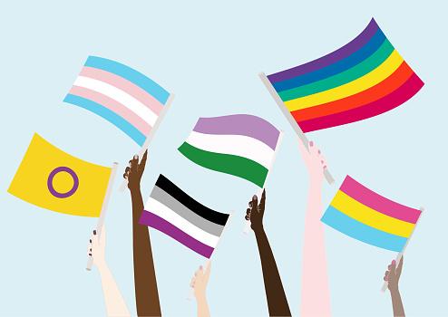 Flags LGBTQIA. Pride month