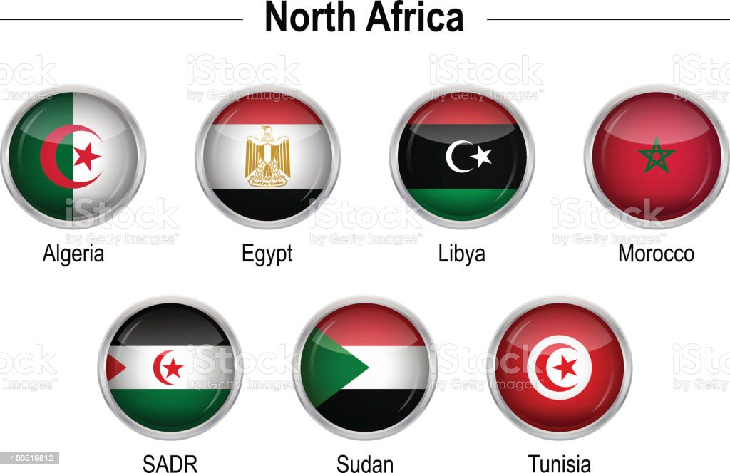 Flags - North Africa vector art illustration