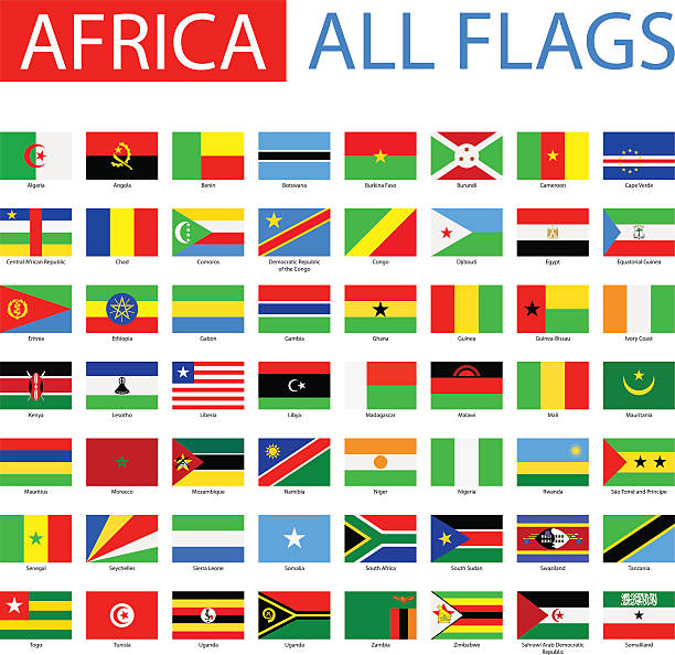 flags of africa - full vector collection - 阿爾及利亞 幅插畫檔、美工圖案、卡通及圖標