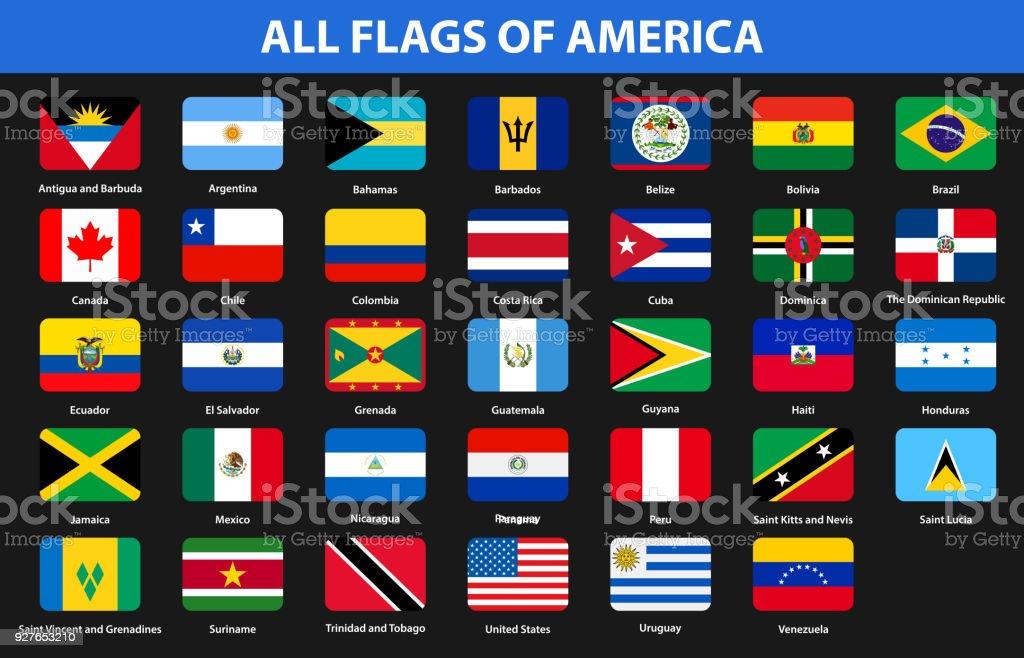 Banderas de todos los países de los continentes americanos. Estilo plano - ilustración de arte vectorial