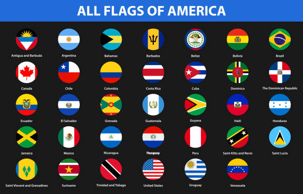 flags of all countries of the american continents. flat style - us flag stock illustrations