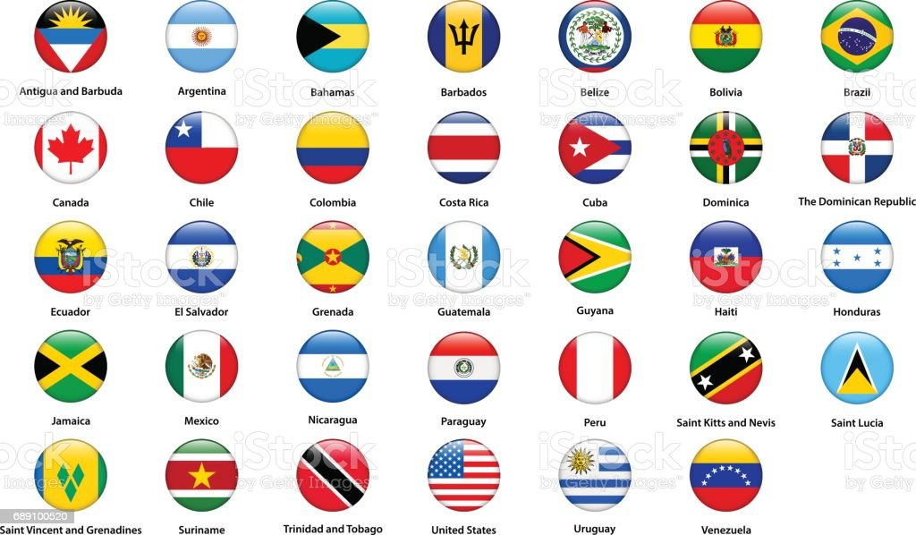 Flags of all countries of the American continents vector art illustration