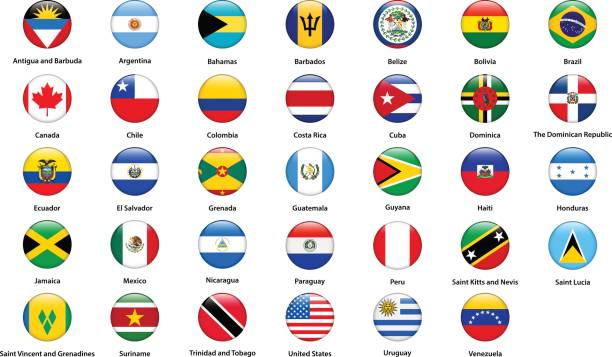 flags of all countries of the american continents - ecuador flag stock illustrations