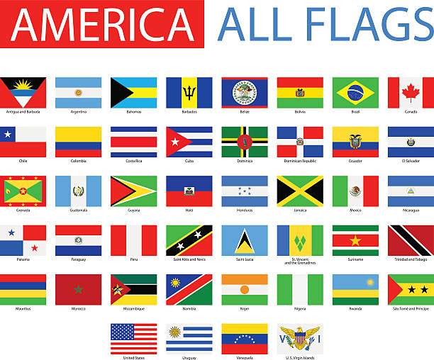 flags of america-vollständige vektor-kollektion - flagge chile stock-grafiken, -clipart, -cartoons und -symbole