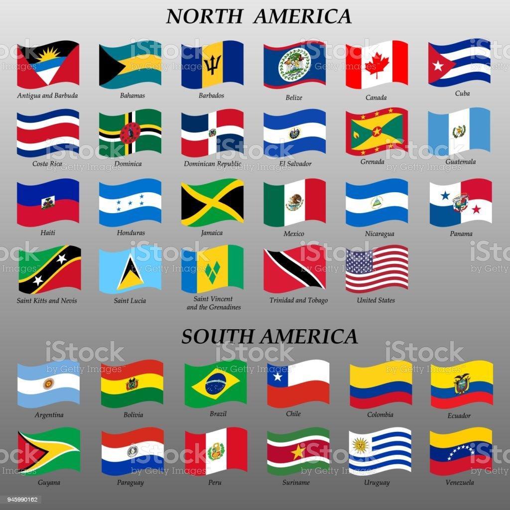 bandeiras das Américas ilustração em vetor - ilustração de arte em vetor