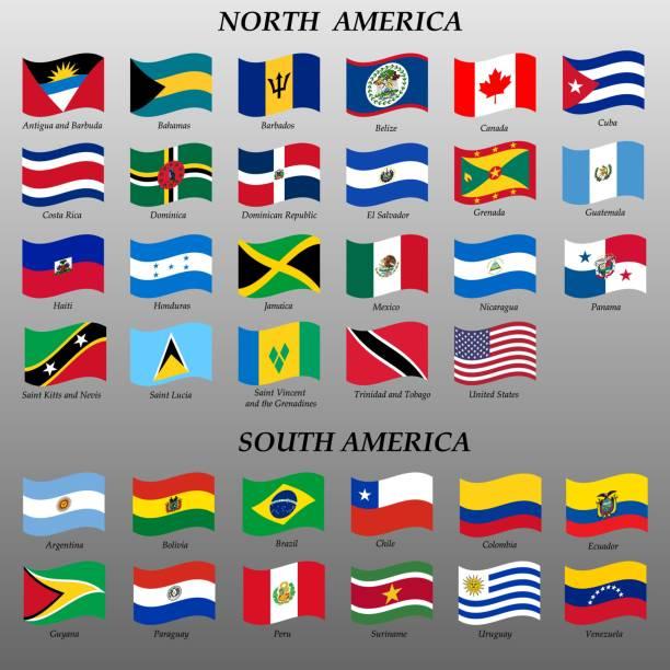 Flaggen der Amerika-Vektor-illustration – Vektorgrafik