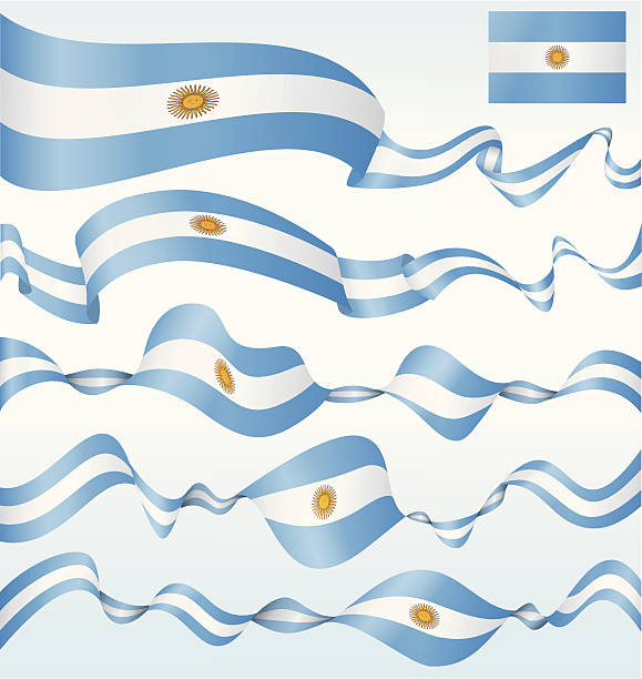 flags of argentina - banners - argentina flag stock illustrations, clip art, cartoons, & icons