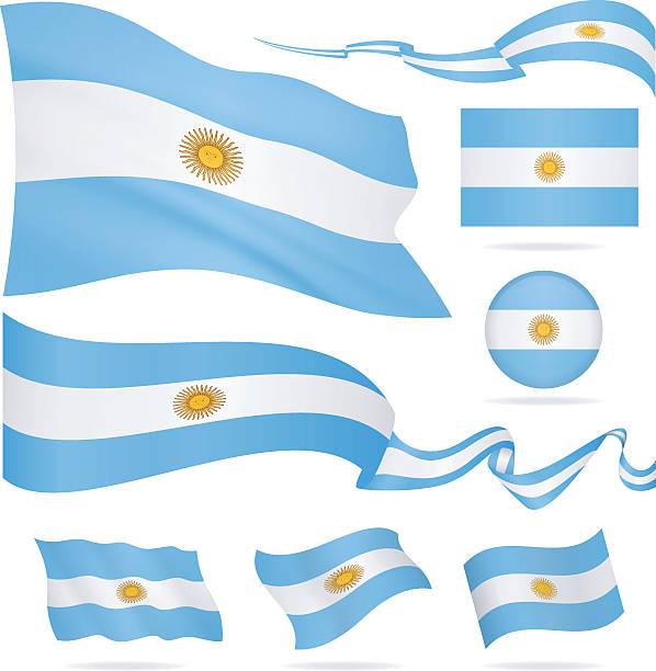 flags of argentina - icon set - illustration - argentina flag stock illustrations, clip art, cartoons, & icons